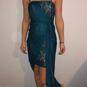 Wendye Chaitin teal size 4 mid length dress